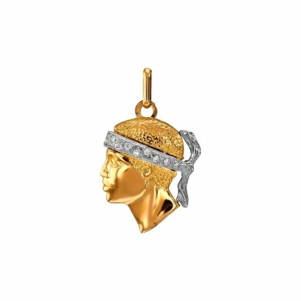 Pendentif Lucas Lucor tête de Maure en or jaune, or blanc et diamants, 20x15mm