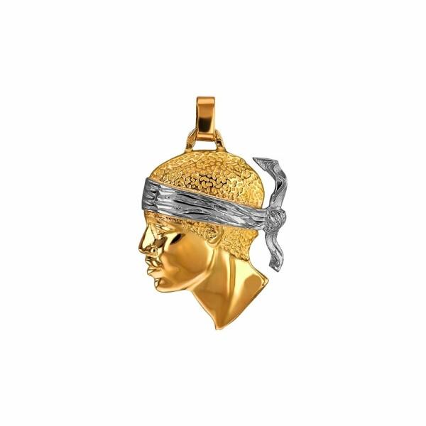 Pendentif tête de Maure en or jaune et or blanc, 27x24mm