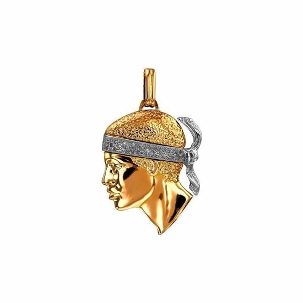 Pendentif tête de Maure en or jaune, or blanc et diamants, 36x30mm