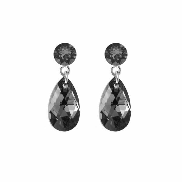 Boucles d'oreilles Indicolite Larme en argent et cristaux Swarovski noirs