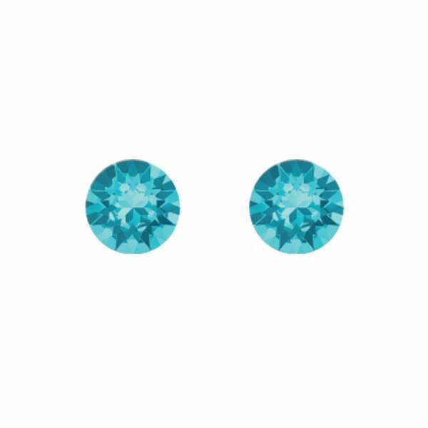 Boucles d'oreilles Indicolite Ronde en argent et cristaux Swarovski bleus ciels