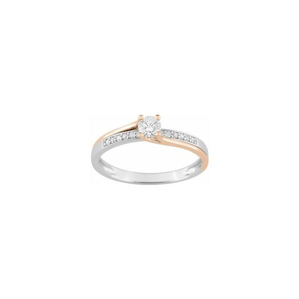 Solitaire accompagné en or blanc, or rose et diamants de 0.22ct