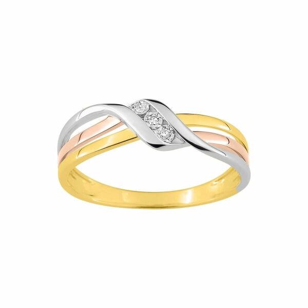 Bague en or blanc, or jaune, or rose et diamants de 0.016ct