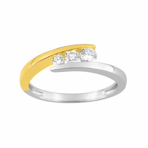 Bague en or blanc, or jaune et diamants de 0.27ct