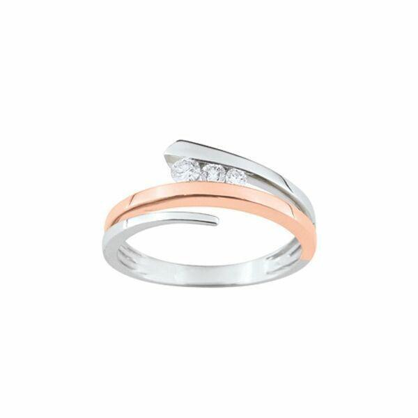 Bague trilogie de diamants en or blanc et or rose