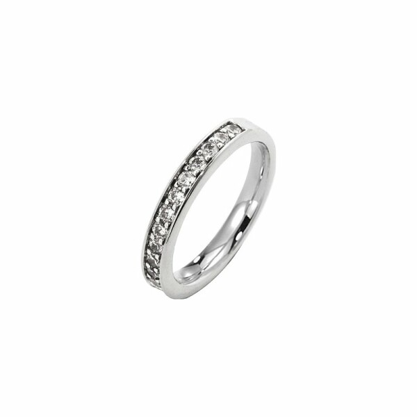 Alliance demi tour en or blanc et diamants de 0.38ct
