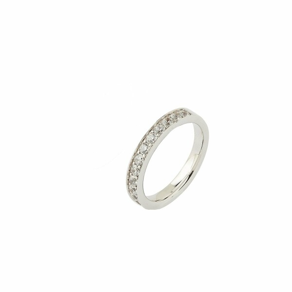Alliance demi tour en or blanc et diamants de 0.65ct