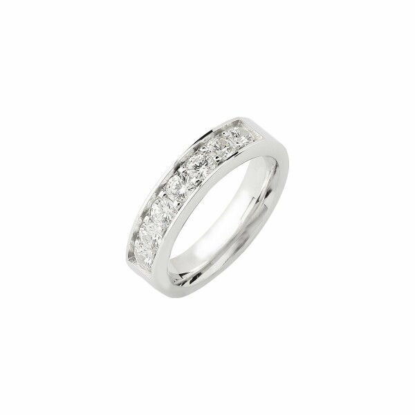 Alliance demi tour en or blanc et diamants de 1ct