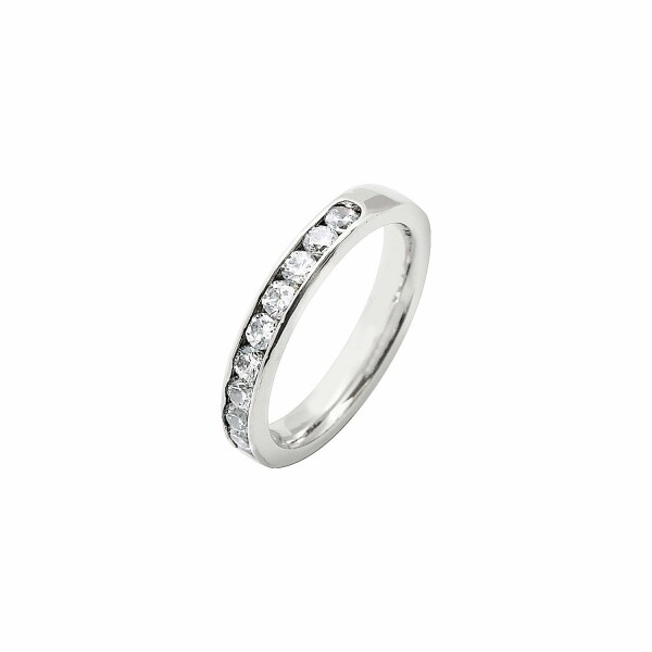 Alliance demi tour en or blanc et diamants de 0.75ct
