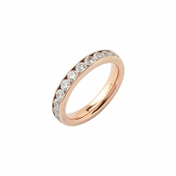 Alliance demi tour en or rose et diamants de 1ct