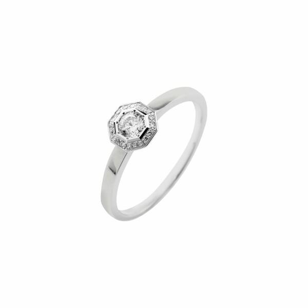 Solitaire Octogone en or blanc et diamants de 0.19ct
