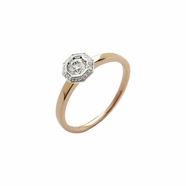 Solitaire Octogone en or rose et diamants de 0.24ct