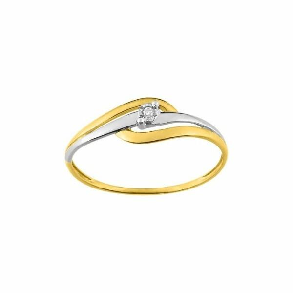 Solitaire en or blanc, or jaune et diamant de 0.01ct