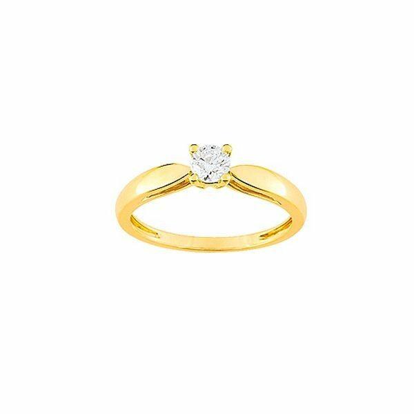 Solitaire en or jaune et diamant