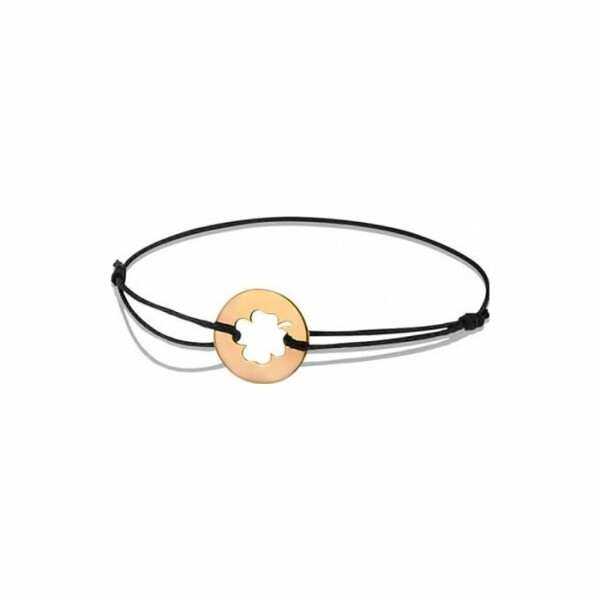 Bracelet sur cordon Augis trèfle en or rose, 14mm