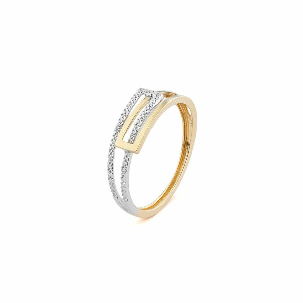 Bague en or jaune, or blanc et diamants de 0.02ct