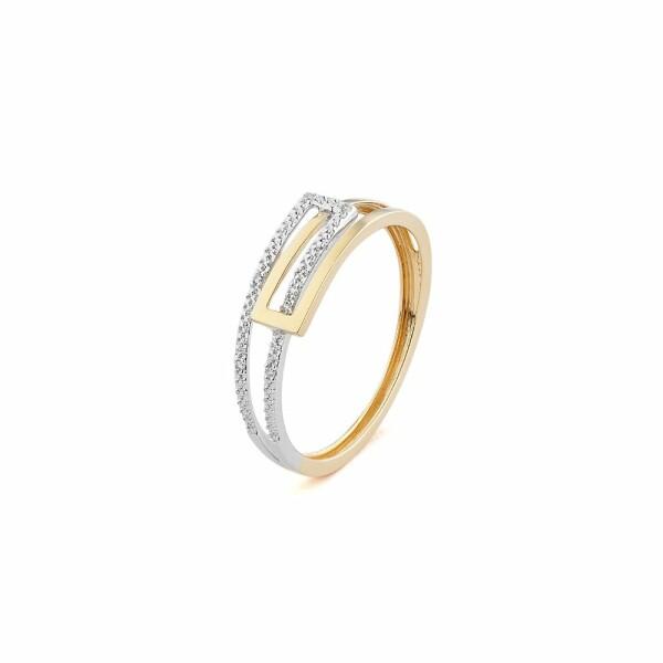 Bague en or jaune, or blanc et diamants de 0.02ct