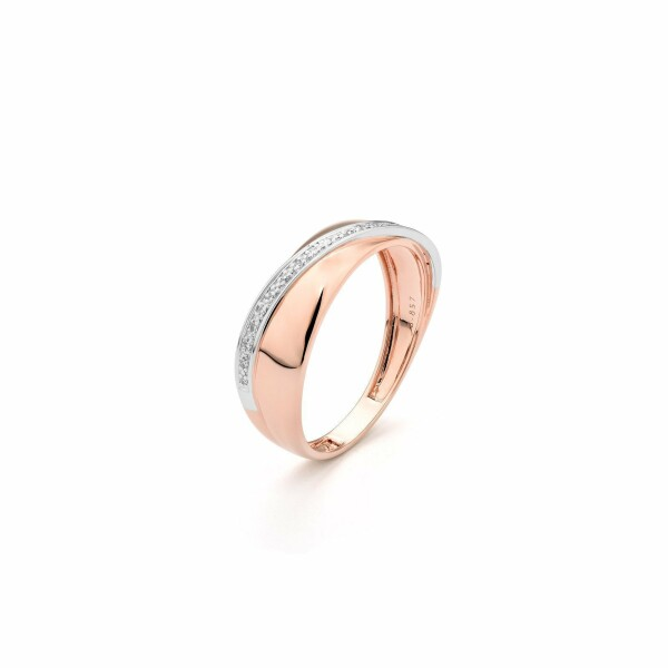 Bague en or rose, or blanc et diamants de 0.05ct