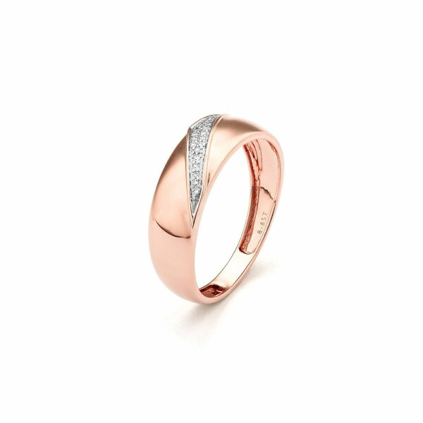 Bague en or rose et diamants de 0.05ct