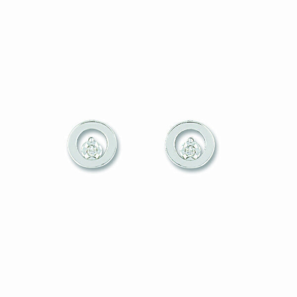 Boucles d'oreilles en or blanc et diamants de 0.02ct