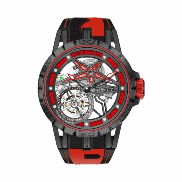 Montre Roger Dubuis Excalibur Spider Pirelli squelette single flying tourbillon