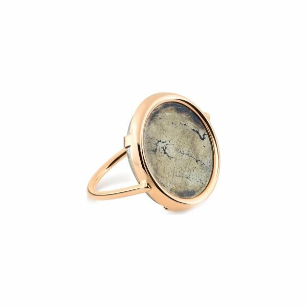 Bague GINETTE NY DISC RINGS en or rose et pyrite