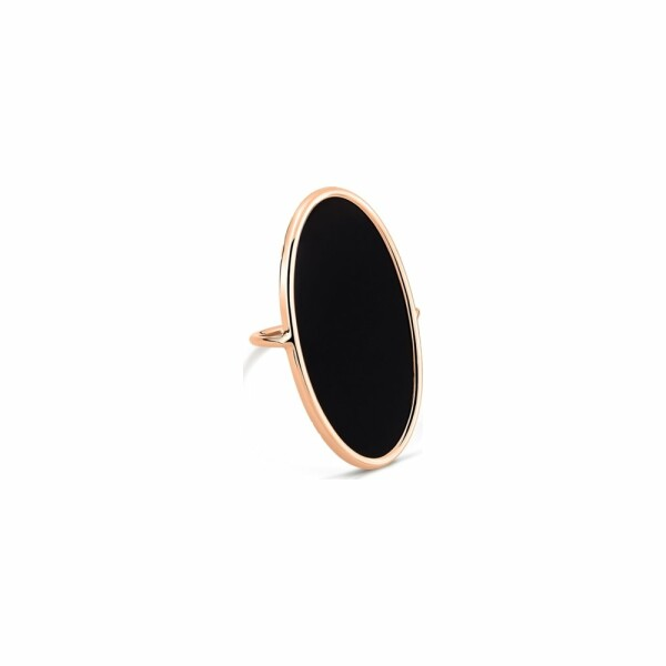 Bague GINETTE NY ELLIPSES & SEQUINS en or rose et onyx