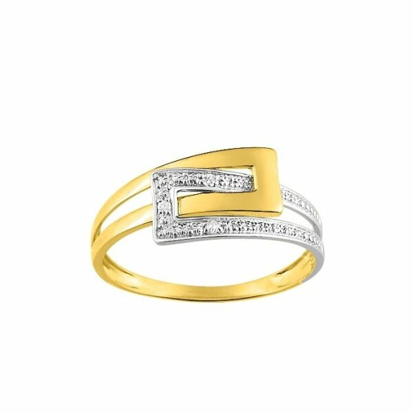 Bague en or blanc, or jaune et diamants de 0.015ct