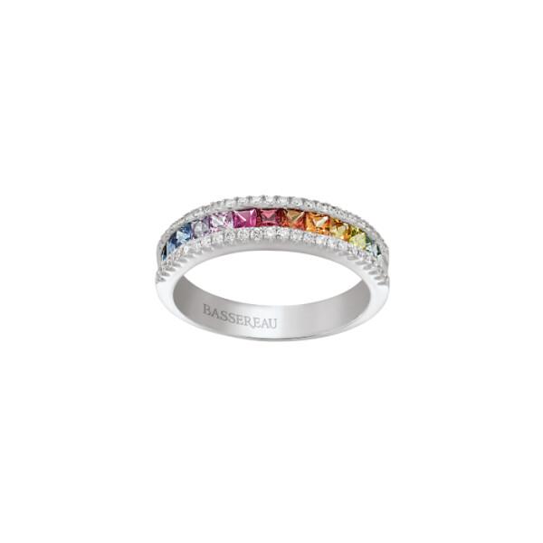 Bague Arc-en-ciel en or blanc,  saphir et diamants de 0.25ct