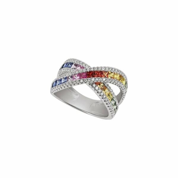 Bague Arc-en-ciel en or blanc,  saphir et diamants de 0.6ct