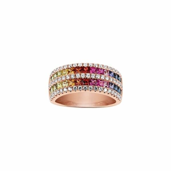 Bague Arc-en-ciel en or rose,  saphir et diamants de 0.55ct