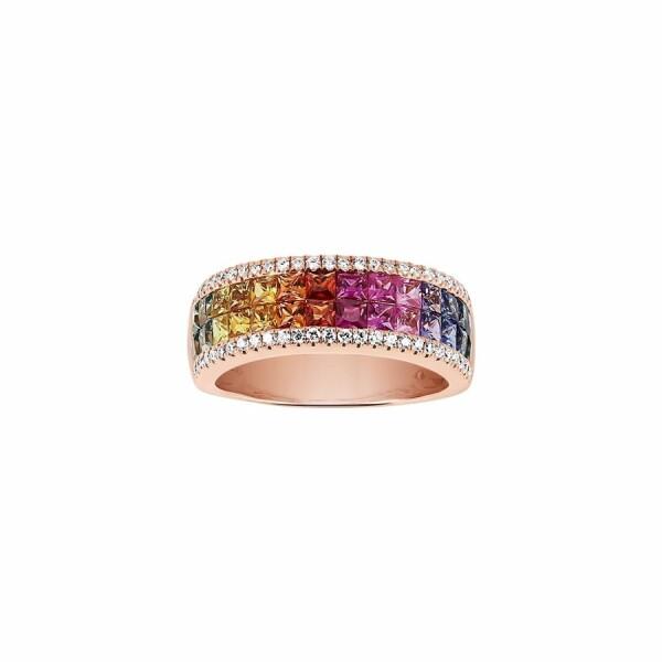 Bague Arc-en-ciel en or rose,  saphir et diamants de 0.25ct
