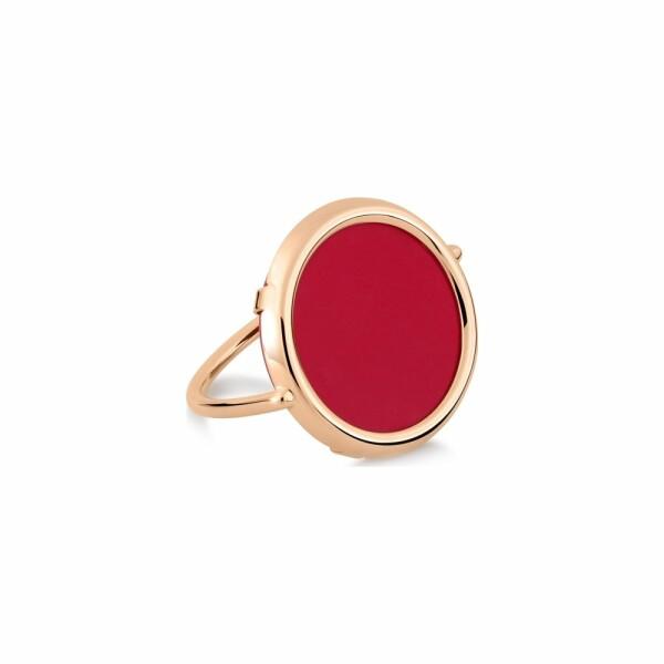 Bague GINETTE NY MARIA en or rose et corail rouge