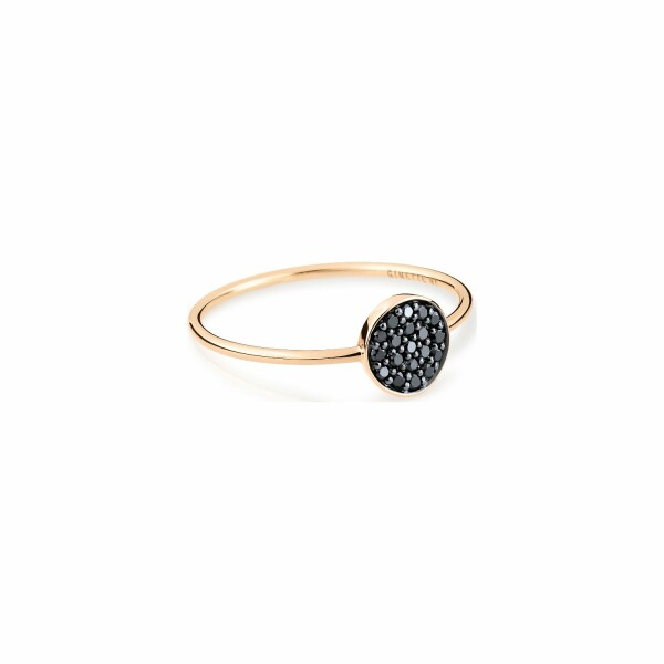 Bague GINETTE NY MINI EVER en or rose et diamants noirs