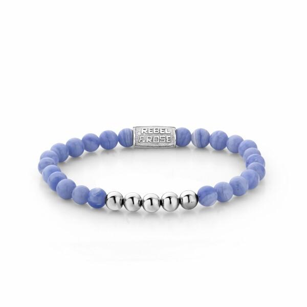 Bracelet Rebel & Rose Lavender Lila - 6mm - argenté en agate