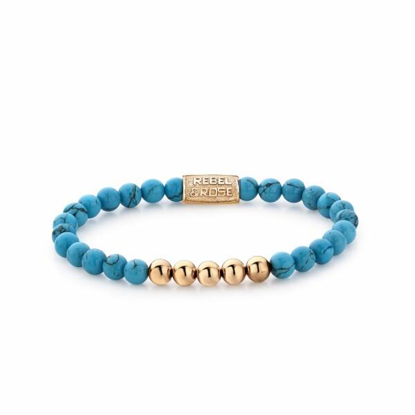 Bracelet Rebel & Rose Turqoise Delight - 6mm - plaqué or rose en turquoise