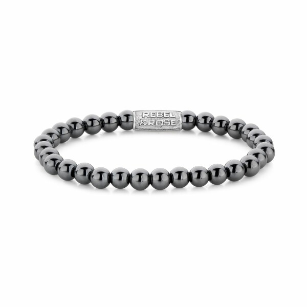 Bracelet Rebel & Rose Grey Silver Shine DV - 6mm en hématite