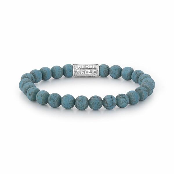 Bracelet Rebel & Rose Matt Turquoise Delight - 8mm en turquoise