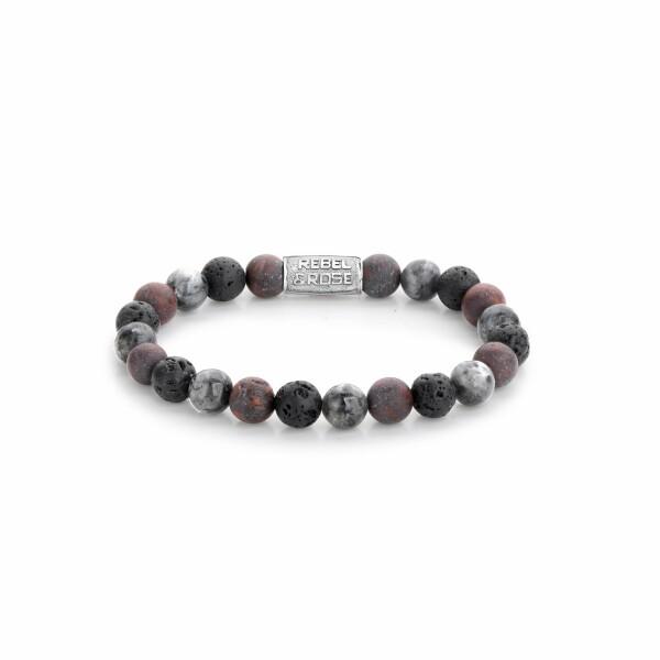 Bracelet Rebel & Rose Stormy Weather - 8mm en jaspe, larvikite et pierre de lave