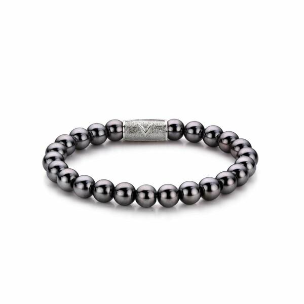 Bracelet Rebel & Rose Grey Silver Shine DV - 8mm en hématite