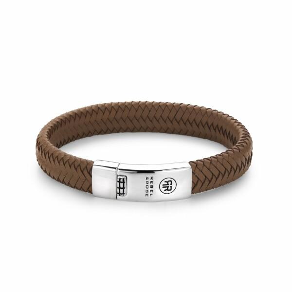 Bracelet Rebel & Rose Braided Oval - Handsome In Khaki en cuir