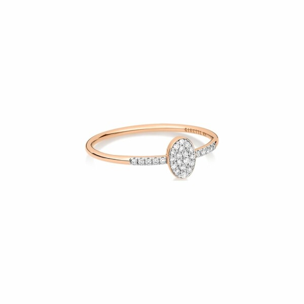 Bague GINETTE NY ELLIPSES & SEQUINS en or rose et diamants