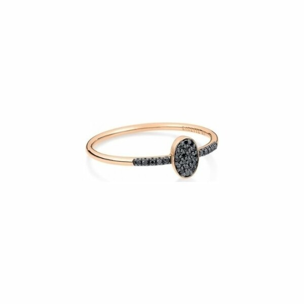 Bague GINETTE NY ELLIPSES & SEQUINS en or rose et diamants noirs
