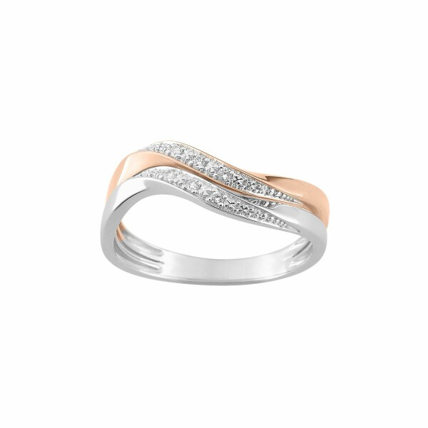 Bague en or blanc, or rose et diamants de 0.048ct