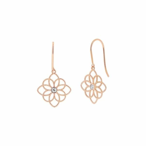 Boucles d'oreilles Fleur de vie en or rose diamants de 0.03ct
