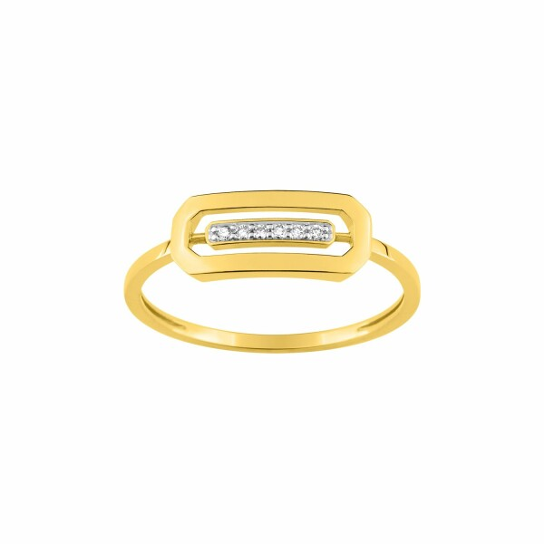 Bague en or jaune, or blanc et diamants de 0.03ct