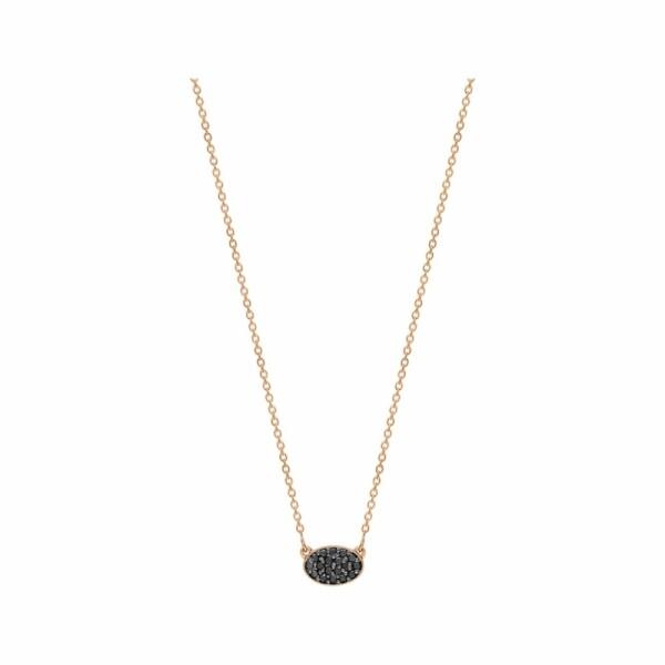 Collier GINETTE NY ELLIPSES & SEQUINS en or rose et diamants noirs