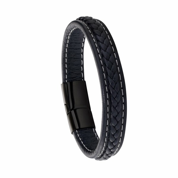 Bracelet Jourdan Bijoux Battuta en cuir et acier