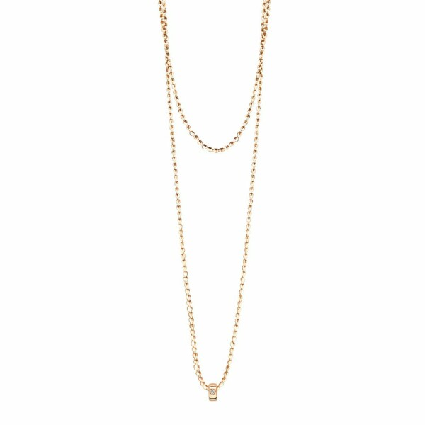 Collier sautoir GINETTE NY MINI TUBE & DIAMOND en or rose et diamant