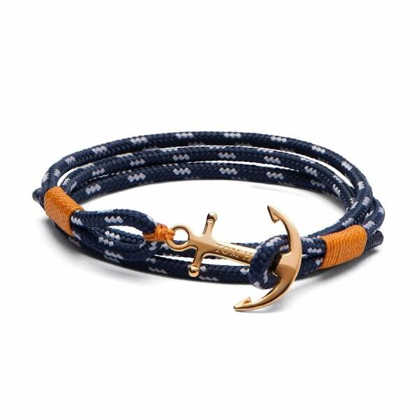 Bracelet Tom Hope 24K XS bleu, orange en plaqué or jaune